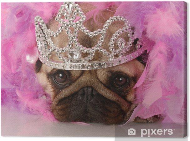 Canvas Bedorven hond - adorable pug omhoog gekleed als een prinses - Mopshonden