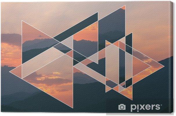 Canvas Beeld van het bos, bergen bij de zonsondergang en het symbool van de heilige geometrie, collage - Milieu