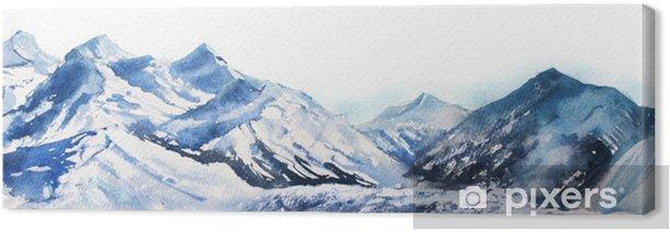Canvas Berg winter sneeuw piek waterverf in blauwe Toon op witte achtergrond - Landschappen