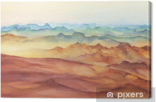 Canvas Berglandschap pieken op zonsondergang op panoramisch uitzicht. prachtige rotsen en gele zandwoestijn, duin van de enorme afmetingen. aquarel hand getrokken schilderij illustratie geïsoleerd op een witte achtergrond. - Landschappen