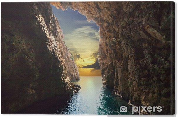 Canvas Binnen van grot in stijgende - Thema's