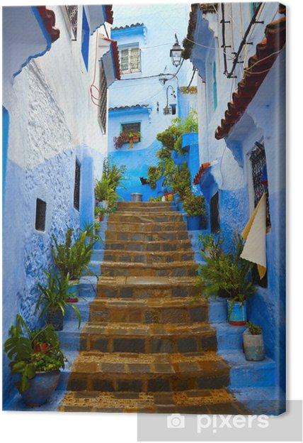 Canvas Binnenkant van Marokkaanse blauwe stad Chefchaouen medina - Thema's