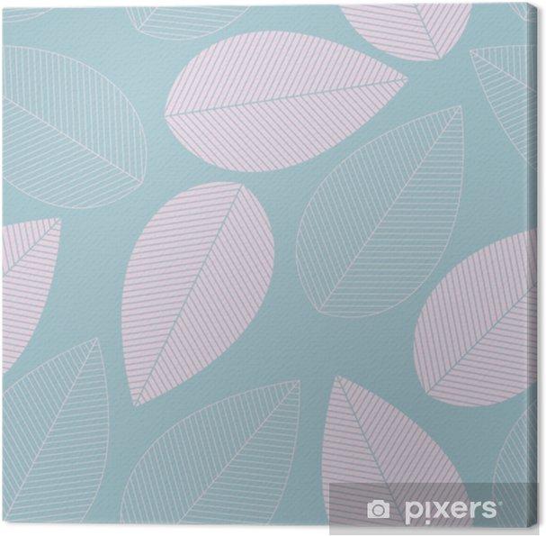 Canvas Blad naadloze patroon blauwe en roze kleur. - Grafische Bronnen