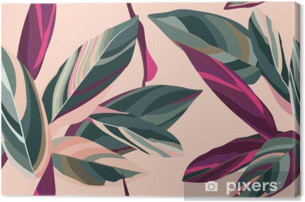 Canvas Bladeren van Cordelia op een roze achtergrond. naadloze bloemmotief. - Bloemen en Planten