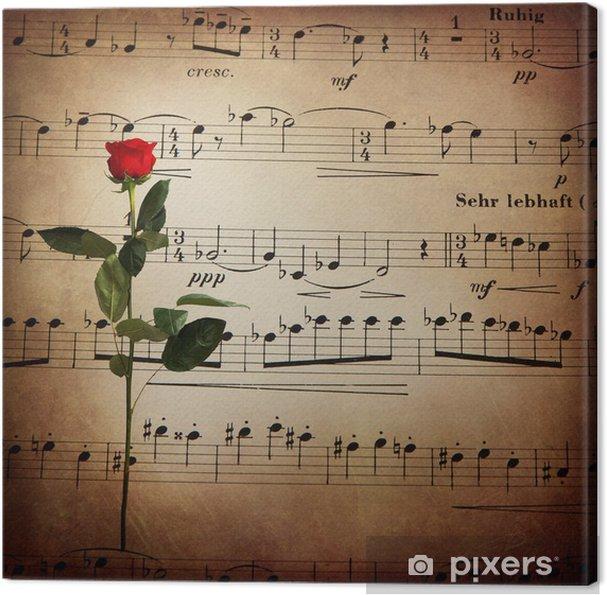 Canvas Bladmuziek, roze, retro sfeer - Muziek
