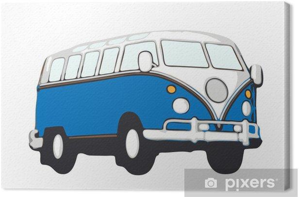 Canvas Blauer vw bus hippie - Onderweg