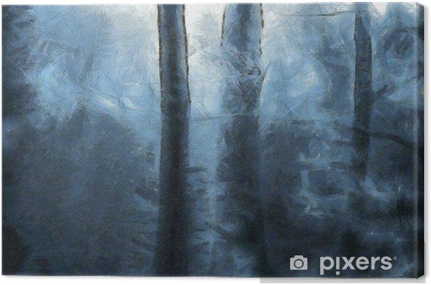 Canvas Blauw bos - Landschappen