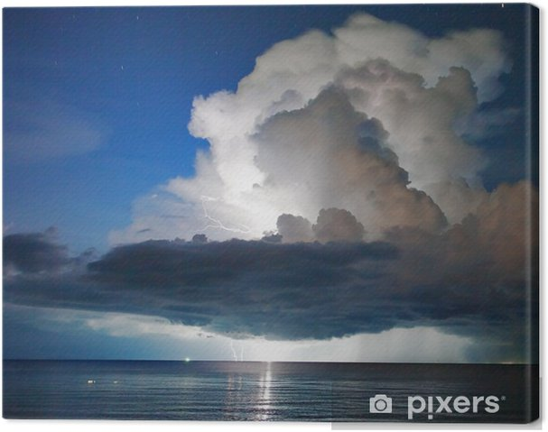 Canvas Bliksem boven de zee. Thailand - Natuurrampen