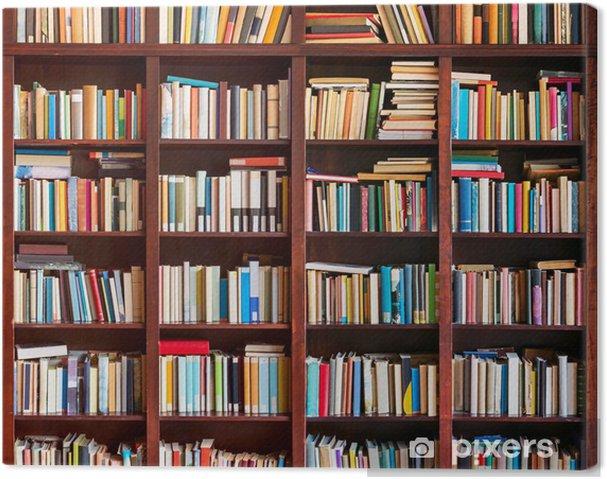 Canvas Boekenkast vol met boeken - bibliotheek
