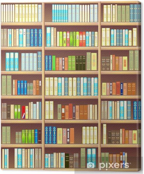 Canvas Boekenkast vol met verschillende kleurrijke boeken - bibliotheek