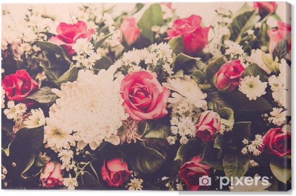 Canvas Boeket van het huwelijk van rozen bloeien. retro filter - Bloemen en Planten