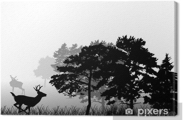 Canvas Bomen en lopen herten silhouet - Zoogdieren