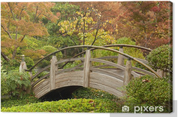 Canvas Boogbrug in een Japanse tuin - Gelukkig