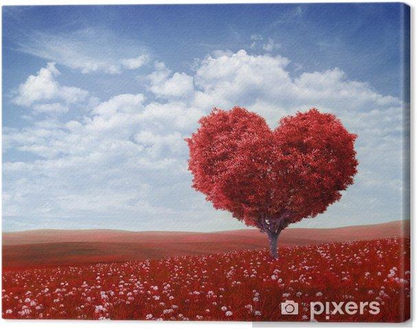 Canvas Boom in de vorm van hart, Valentijnsdag achtergrond, - Gelukkig