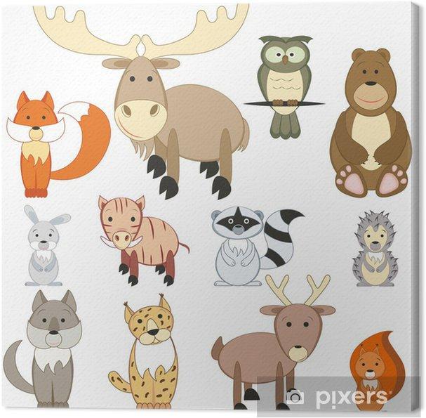 Canvas Bos dieren set - Muursticker