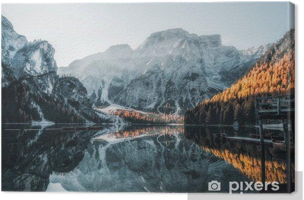 Canvas Boten op het meer in de Dolomieten - Landschappen