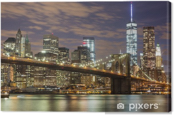 Canvas Brooklyn Bridge en Downtown Wolkenkrabbers in New York bij Schemer -