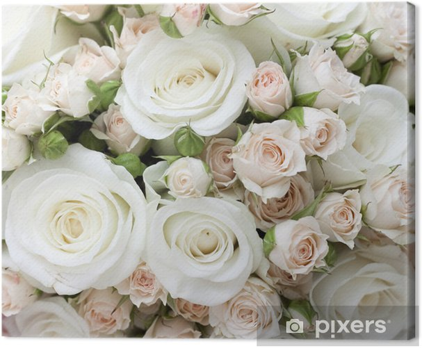 Canvas Bruiloft boeket van pinkand witte rozen - Thema's