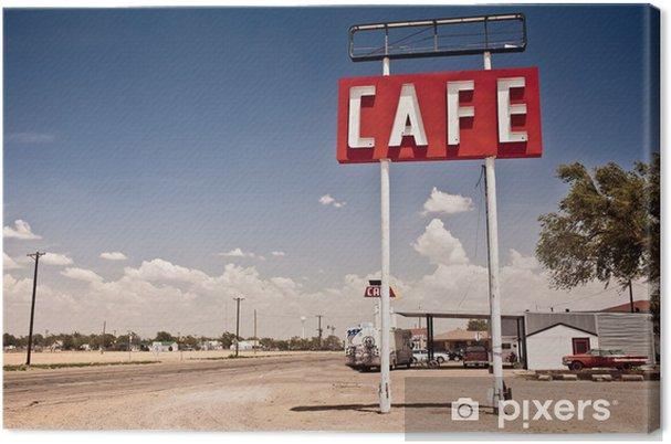 Canvas Cafe bord langs historische Route 66 in Texas. - Stijlen