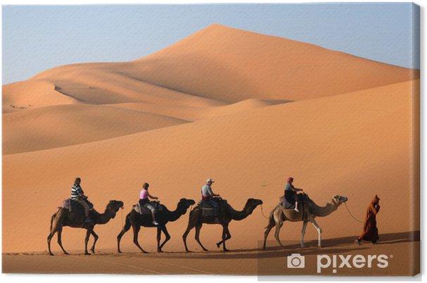 Canvas Camel Caravan in de Sahara woestijn - Woestijn
