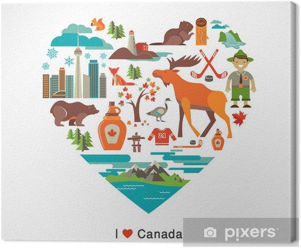 Canvas Canada liefde - hart met pictogrammen en elementen - Winkels