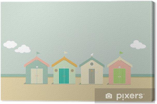 Canvas Candy strandhuisjes aan zee - Vakantie