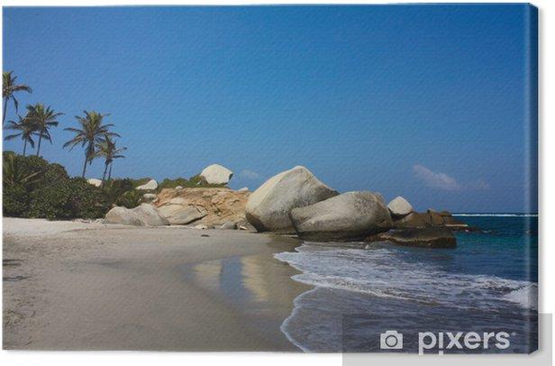 Canvas Caribisch strand met tropische bossen. Tayrona National Park - Vakantie