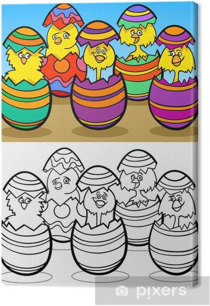 Canvas Cartoon Kuikens In Paaseieren Kleurplaat Pixers We Leven