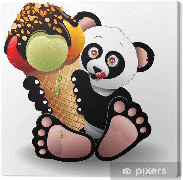 Canvas Cartoon van de Panda met Big Ice Cream-Panda con Gelato - Muursticker