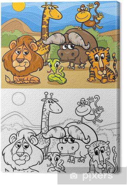 Canvas Cartoon Wilde Dieren Kleurplaat Pixers We Leven Om Te