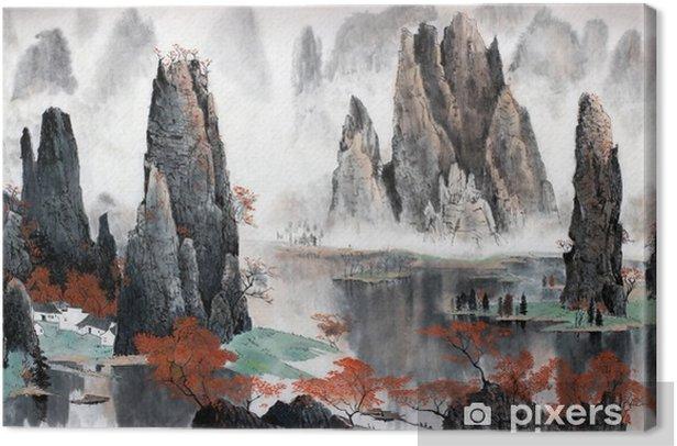 Canvas Chinees landschap van bergen en water - Landschappen