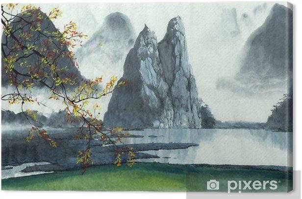 Canvas Chinese bergen, mist, meer - Landschappen