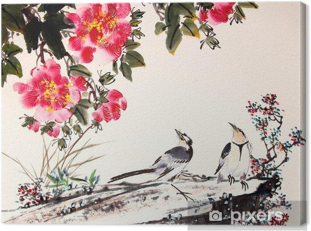 Canvas Chinese inkt schilderij vogel en boom - Dieren