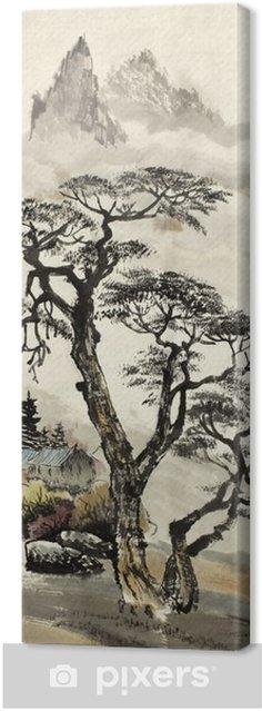 Canvas Chinese landschap met een boom - Hobby's en Vrije tijd