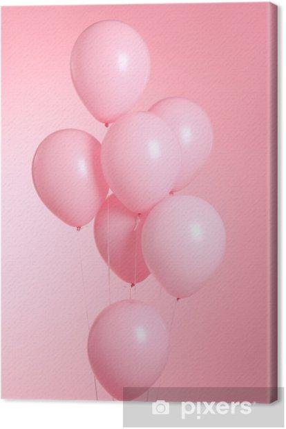 Canvas Close-up van ballonnen geïsoleerd op roze achtergrond - Hobby's en Vrije tijd