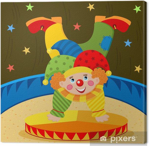Canvas Clown op het podium - vector illustratie - Amusement