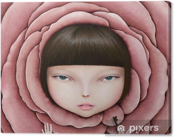 Canvas Conceptuele illustratie of poster met het hoofd van het meisje in roze bloemblaadje met de sleutel in zijn hand. - Hobby's en Vrije tijd