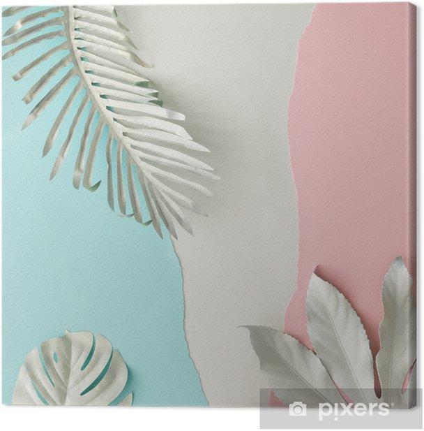 Canvas Creatieve lay-out gemaakt van wit geschilderde tropische bladeren en pastel roze en blauw papier backround. minimale vlakke lay. - Bloemen en Planten