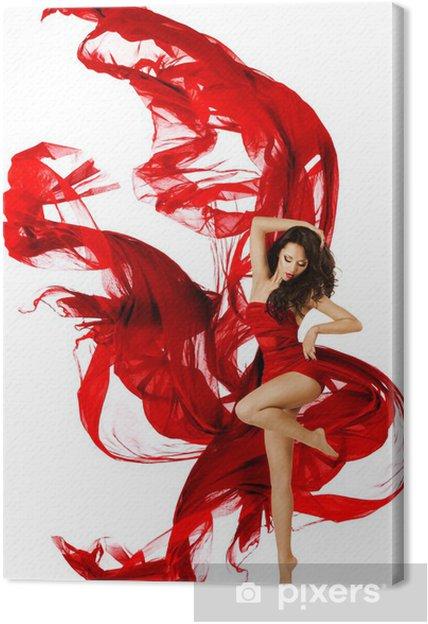 Canvas Dansende vrouw in rode jurk, mannequin zwaaien dans - Mode