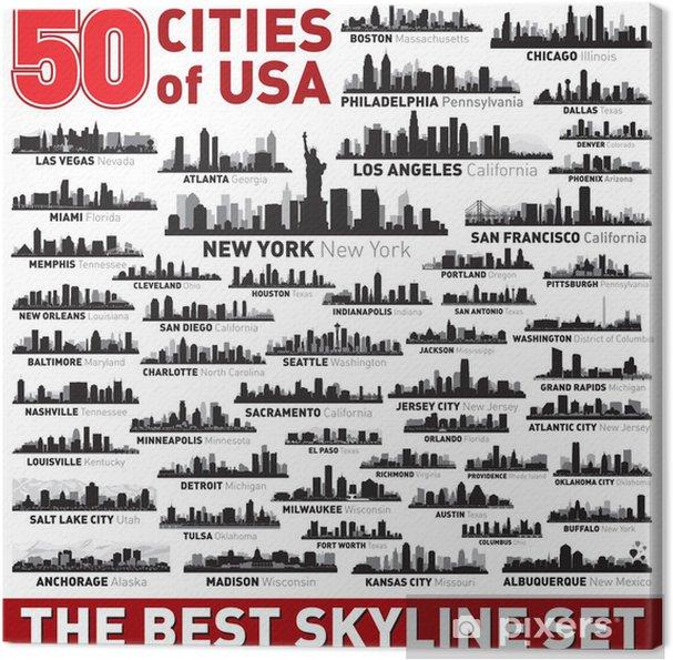 Canvas De beste vector stad skyline silhouetten - Amerikaanse steden