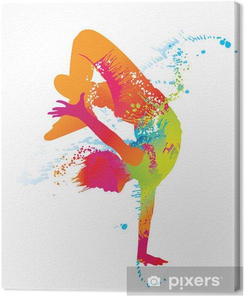 Canvas De dansende jongen met kleurrijke vlekken en spatten. Vector - Thema's