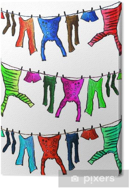 Canvas De gewassen kleding bij het drogen - Mode