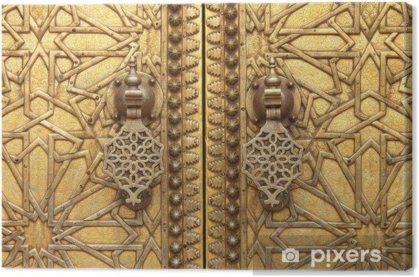 Canvas De gouden deurkloppers van het Koninklijk Paleis in Fes, Marokko - Marokko