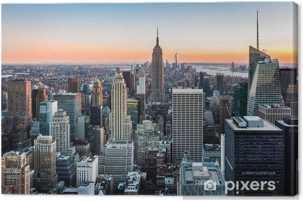Canvas De horizon van New York bij zonsondergang -
