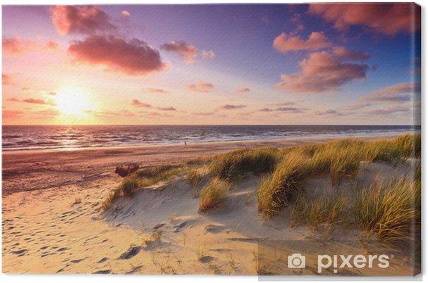 Canvas De kust met zandduinen bij zonsondergang - Thema's