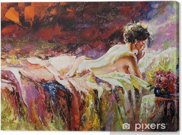 Canvas De naakte meisje tot op een bed - Stijlen
