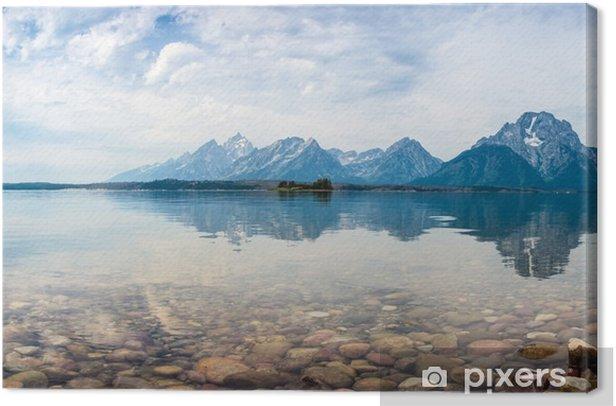 Canvas De weerspiegeling van de bergtoppen in een meer - Bergen