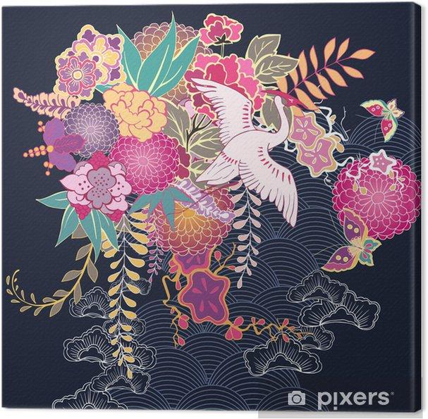 Canvas Decoratief bloemenmotief kimono - Bloemen