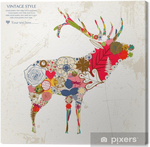 Canvas Deer - Gelukkig