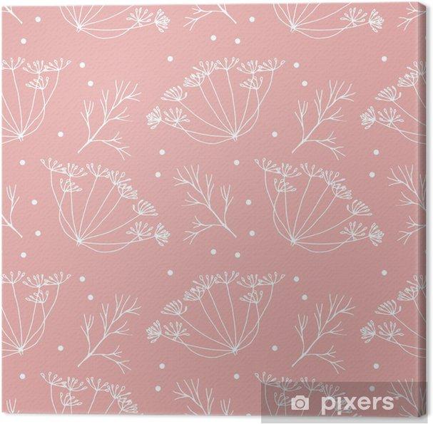 Canvas Dille of venkel bloemen en bladeren patroon. - Bloemen en Planten